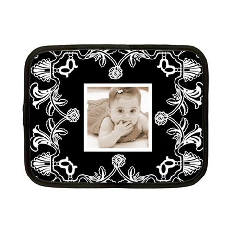 Art Nouveau Black & White Small Netbook Case by Catvinnat Front