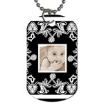 Art Nouveau Black & White Dog Tag - Dog Tag (Two Sides)