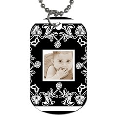 Art Nouveau Black & White Dog Tag By Catvinnat   Dog Tag (two Sides)   Yvj0yl63hrua   Www Artscow Com Back
