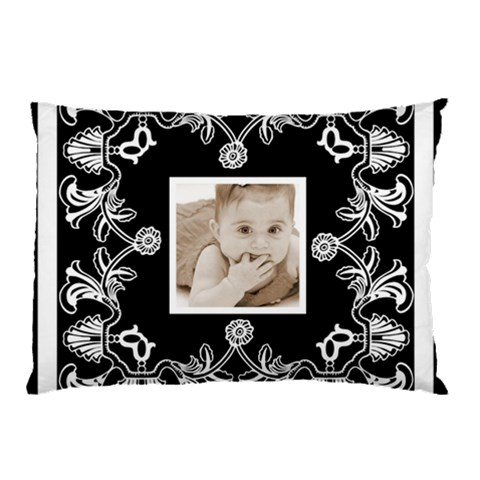Art Nouveau Black & White Pillow Case By Catvinnat   Pillow Case   M98dlv1u9on1   Www Artscow Com 26.62 x18.9 Pillow Case