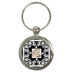 Art Nouveau Black & white round keyring - Key Chain (Round)