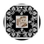Art Nouveau Black & White round ornament - Round Ornament (Two Sides)