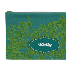 Turquoise & Lime Green Xl Cosmetic Bag By Klh   Cosmetic Bag (xl)   Jz4zvwfix5f9   Www Artscow Com Front