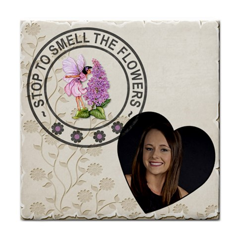 Stop To Smell The Flowers Coaster By Lil    Tile Coaster   Anxsoj5fcrqj   Www Artscow Com Front