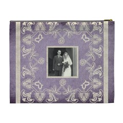 Art Nouveau Lavendar Lace Extra Large Cosmetic Bag By Catvinnat   Cosmetic Bag (xl)   Ih3bi422ksey   Www Artscow Com Back