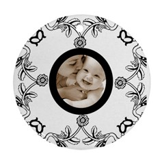 Baby Love Black & White Round Ornament By Catvinnat   Round Ornament (two Sides)   Rl4ksjxklx8n   Www Artscow Com Back