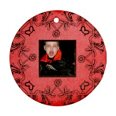 Vampire Halloween  Round Ornament By Catvinnat   Round Ornament (two Sides)   7jxt5r2n3y2z   Www Artscow Com Front