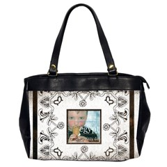 Art Nouveau White & Black Oversized Office Bag By Catvinnat   Oversize Office Handbag (2 Sides)   G47nw3fia3xt   Www Artscow Com Front