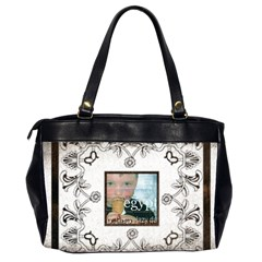 Art Nouveau White & Black Oversized Office Bag By Catvinnat   Oversize Office Handbag (2 Sides)   G47nw3fia3xt   Www Artscow Com Back