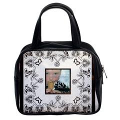 Art Nouveau Brown & White Classic Handbag By Catvinnat   Classic Handbag (two Sides)   8d146j0wvtpm   Www Artscow Com Front