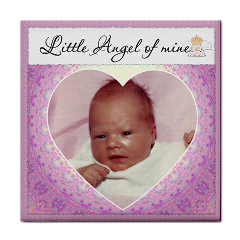 little Angel  Girl Coaster By Lil    Tile Coaster   0kjl6t1bp9q0   Www Artscow Com Front