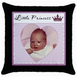 Little Princess Pillow - Throw Pillow Case (Black)