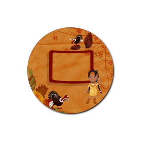 Thanksgiving 7 By Snackpackgu   Rubber Coaster (round)   Och4p9pxkjtt   Www Artscow Com Front
