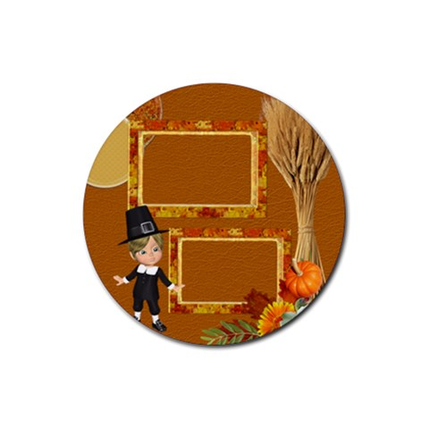 Thanksgiving 8 By Snackpackgu   Rubber Coaster (round)   Lzzt2kws2irg   Www Artscow Com Front