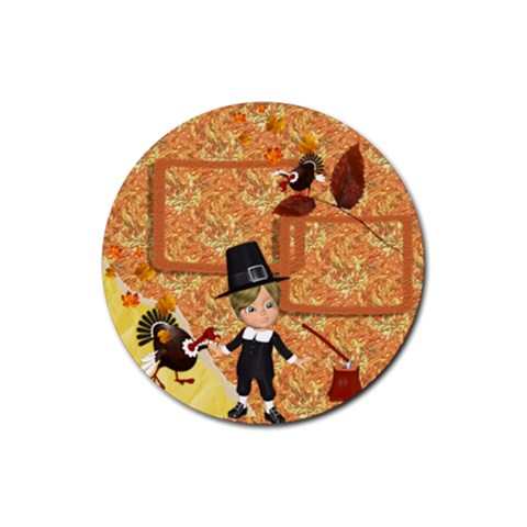 Thanksgiving 9 By Snackpackgu   Rubber Coaster (round)   9vu23c8j4bmz   Www Artscow Com Front
