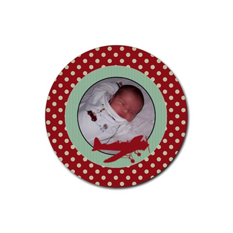 Red Polka Dot And Plane Coaster By Klh   Rubber Coaster (round)   0um3mqubfkgm   Www Artscow Com Front
