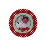 Red Polka Dot and Plane Coaster - Rubber Coaster (Round)