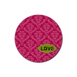 Pink Damask Love Coaster - Rubber Coaster (Round)