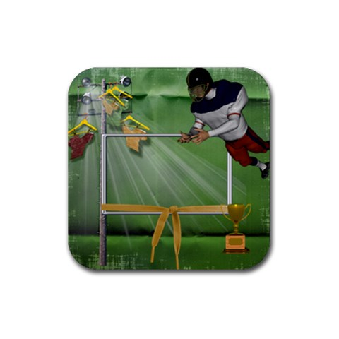 Football Coaster 2 By Snackpackgu   Rubber Square Coaster (4 Pack)   Gksv80u34jz3   Www Artscow Com Front