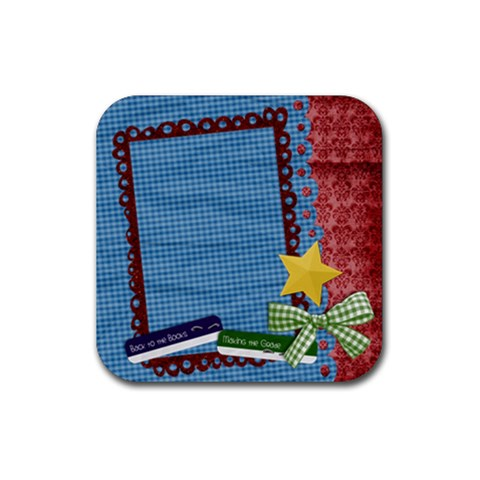Coaster  Teacher Student School By Mikki   Rubber Coaster (square)   P2j1wq0ko4sk   Www Artscow Com Front