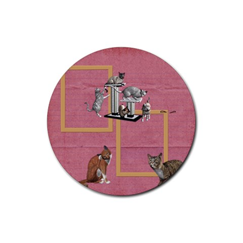 Kitties 2 By Snackpackgu   Rubber Coaster (round)   Gp79cis9va3p   Www Artscow Com Front