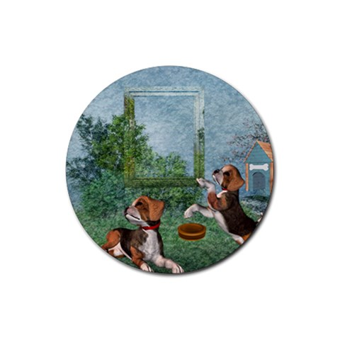Puppies 2 By Snackpackgu   Rubber Coaster (round)   Lssvynwqtioj   Www Artscow Com Front