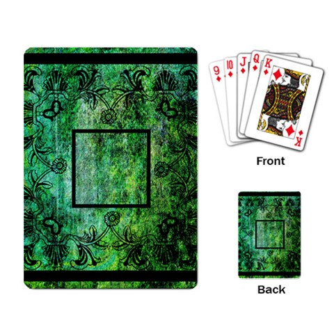 art nouveau green playing cards by Catvinnat Back