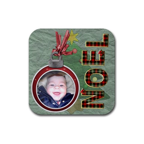 Noel Christmas Coaster By Lil    Rubber Coaster (square)   Aq4xac8h8ufd   Www Artscow Com Front