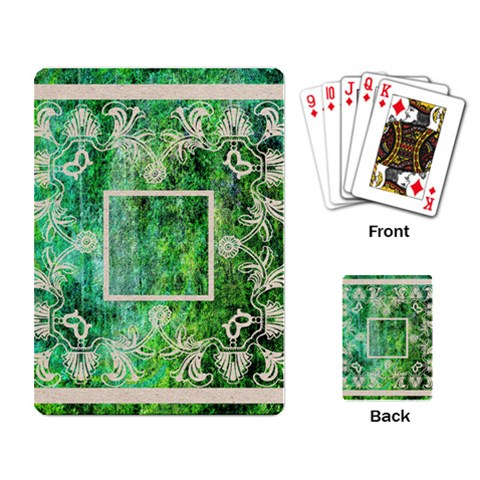 Art Nouveau Green Lace Playing Cards By Catvinnat   Playing Cards Single Design   3m4c8fdo6tc2   Www Artscow Com Back