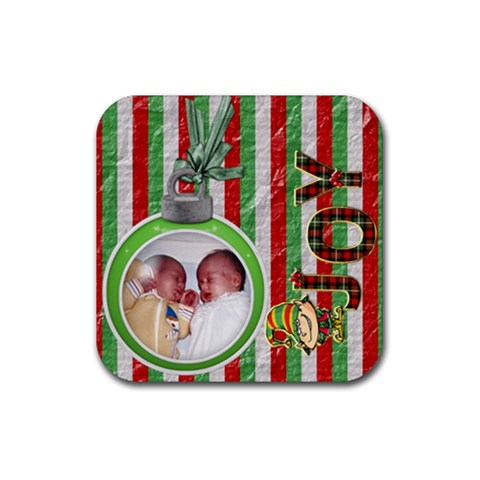 Joy Christmas Coaster By Lil    Rubber Coaster (square)   9tag98vt3dqg   Www Artscow Com Front