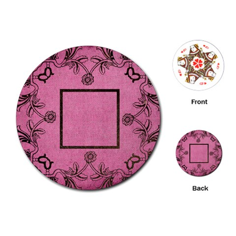 Art Nouveau Pink Round Playing Cards By Catvinnat   Playing Cards (round)   Zmw7gg1w7sc0   Www Artscow Com Front