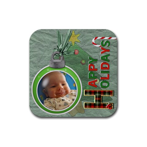 Happy Holidays Christmas Coaster By Lil    Rubber Coaster (square)   3bxwcx6gwx5i   Www Artscow Com Front