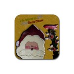 santa clause coaster2 - Rubber Coaster (Square)