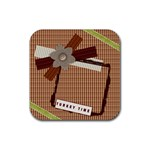 turkey time thanksgiving coaster - Rubber Coaster (Square)