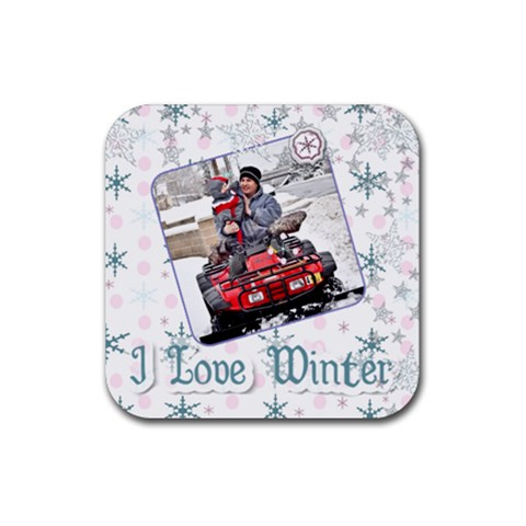 I Love Winter Coaster By Danielle Christiansen   Rubber Coaster (square)   2uq1ntoldq6w   Www Artscow Com Front