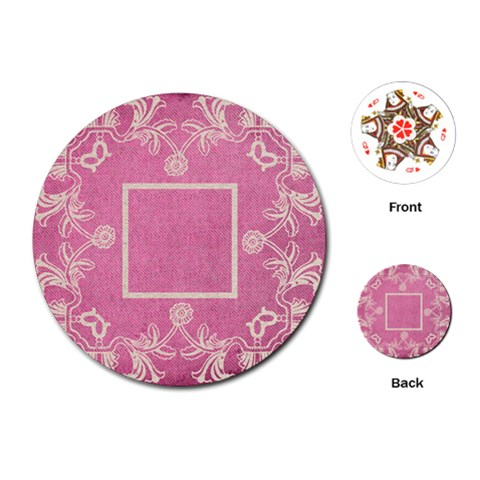 Art Nouveau Pink Lace Round Playing Cards By Catvinnat   Playing Cards (round)   V1w41okpvdjr   Www Artscow Com Front