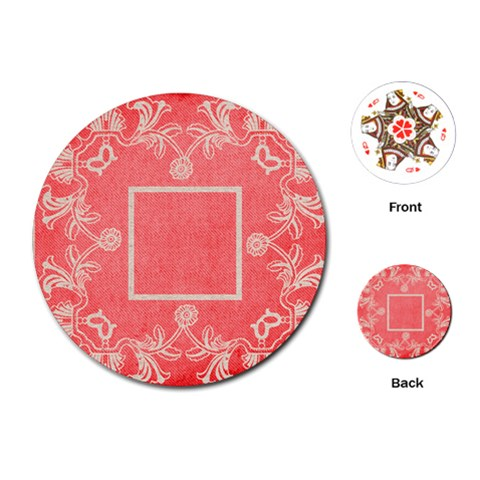 Art Nouveau Red Lace Round Playing Cards By Catvinnat   Playing Cards (round)   Riwmsmi3dryr   Www Artscow Com Front