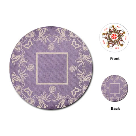 Art Nouveau Lavendar Lace Round Playing Cards By Catvinnat   Playing Cards (round)   Rh4vm571ooxi   Www Artscow Com Front