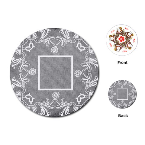 Art Nouveau Grey Lace Round Playing Cards By Catvinnat   Playing Cards (round)   Orurflbjn6rt   Www Artscow Com Front