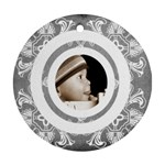 Art nouveau grey circlis round ornament - Round Ornament (Two Sides)