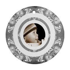 Art Nouveau Grey Circlis Round Ornament By Catvinnat   Round Ornament (two Sides)   9d6rhgti3qt3   Www Artscow Com Back