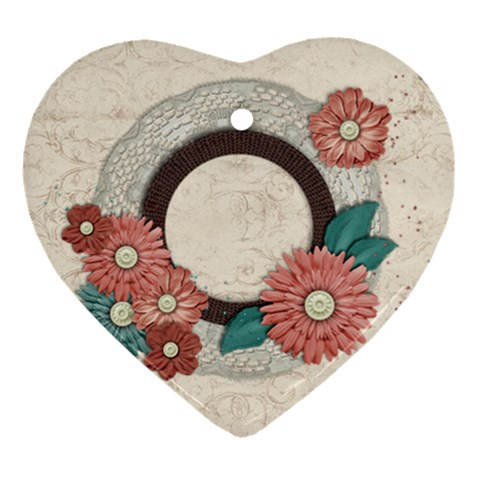 Heart Ornament Floral By Mikki   Ornament (heart)   3m6bcp55slh3   Www Artscow Com Front