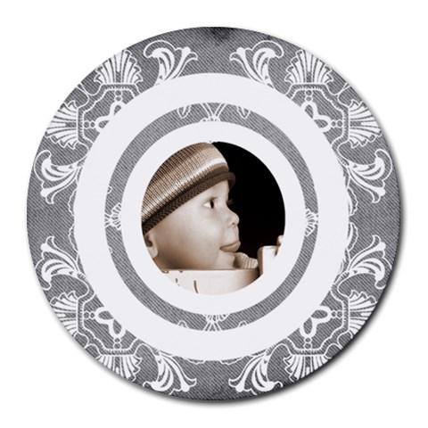 Art Nouveau Grey Lace 2 Mousemat By Catvinnat   Round Mousepad   Ietpv2lynovo   Www Artscow Com Front