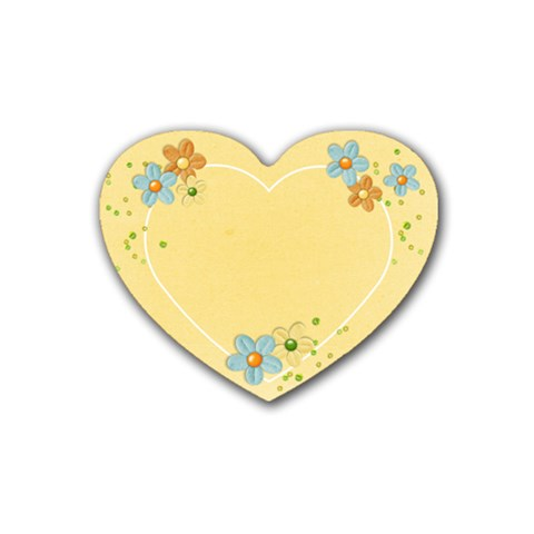 Heart Coaster Yellow Flowers By Mikki   Rubber Coaster (heart)   O4aae7nv3hip   Www Artscow Com Front