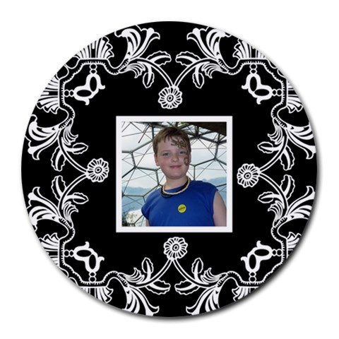 Art Nouveau Black & White Round  Mousemat By Catvinnat   Round Mousepad   Yg6u60vq7qja   Www Artscow Com Front