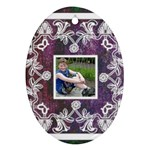 art nouveau purple lace  oval ornament - Oval Ornament (Two Sides)