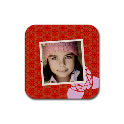 Red Flowers Coaster By Jorge   Rubber Coaster (square)   Y671m54meg9m   Www Artscow Com Front