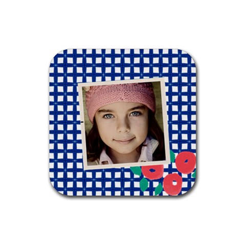 Blue Squares Coaster By Jorge   Rubber Coaster (square)   Tcbl2lx0k1u8   Www Artscow Com Front