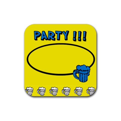 Party Yellow   Rubber Square Coaster By Carmensita   Rubber Coaster (square)   Wvo1hb9i50p5   Www Artscow Com Front