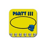 Party yellow - Rubber square coaster - Rubber Coaster (Square)